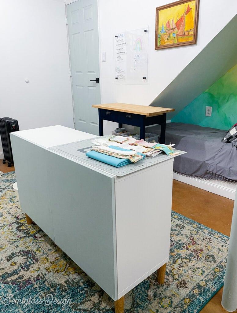 ikea besta cabinet in craft room