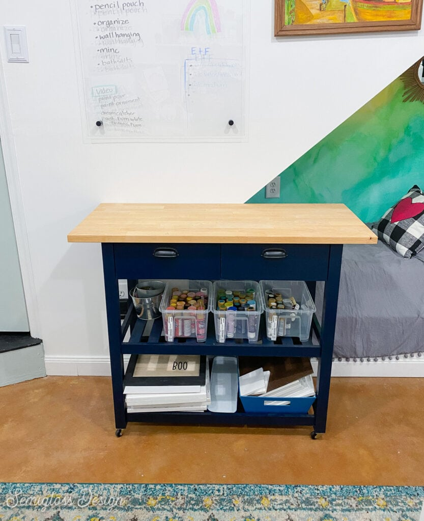 ikea forhoja cart holding paint and canvases