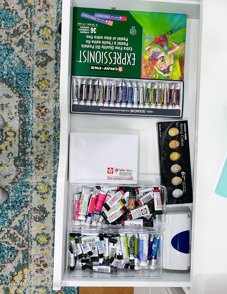 watercolor paint in drawers