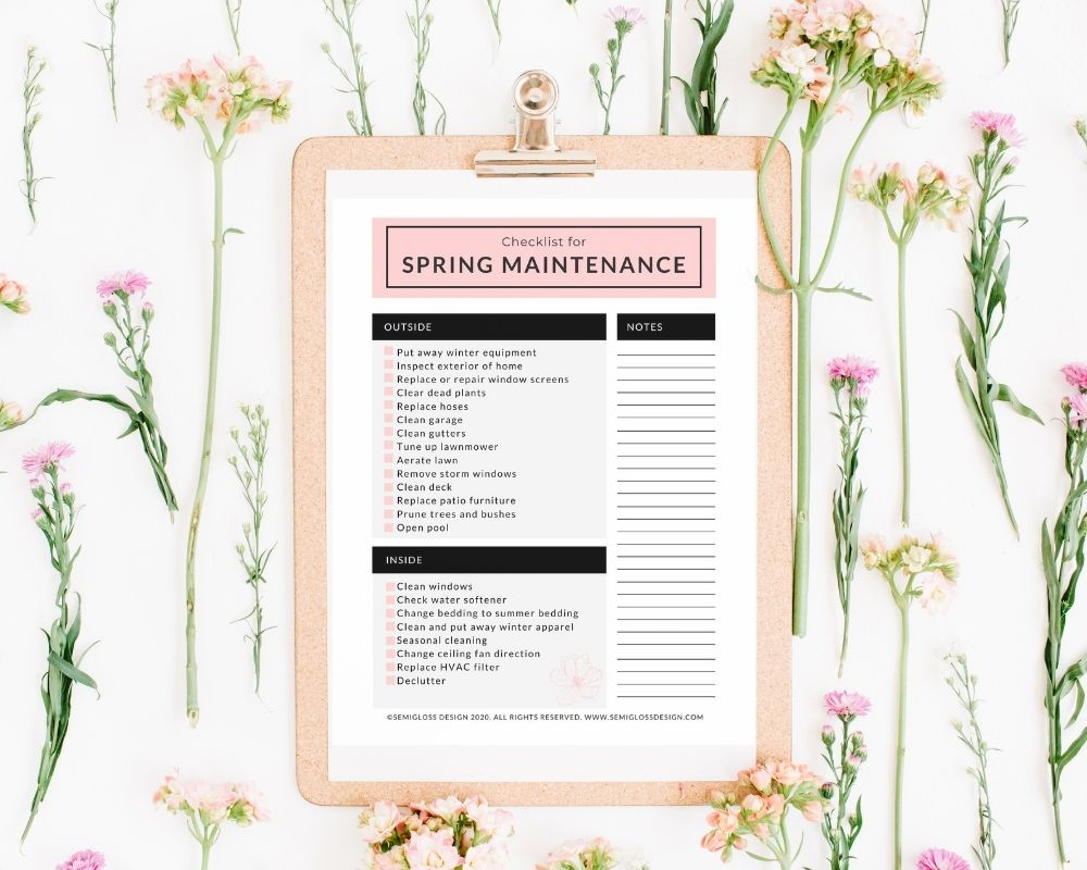 maintenance checklist on clipboard with floral background