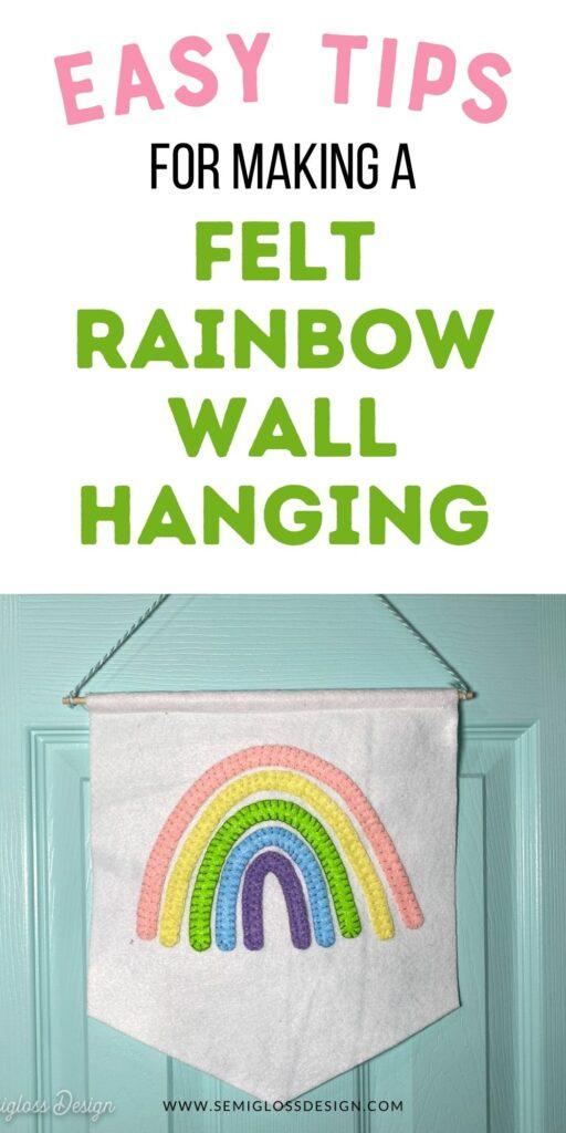 pastel rainbow wall hanging on aqua door