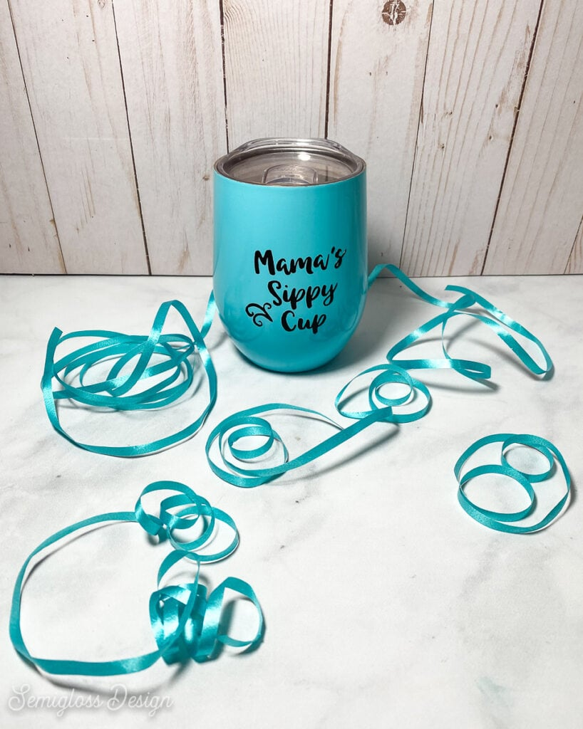 teal wine tumbler with decal