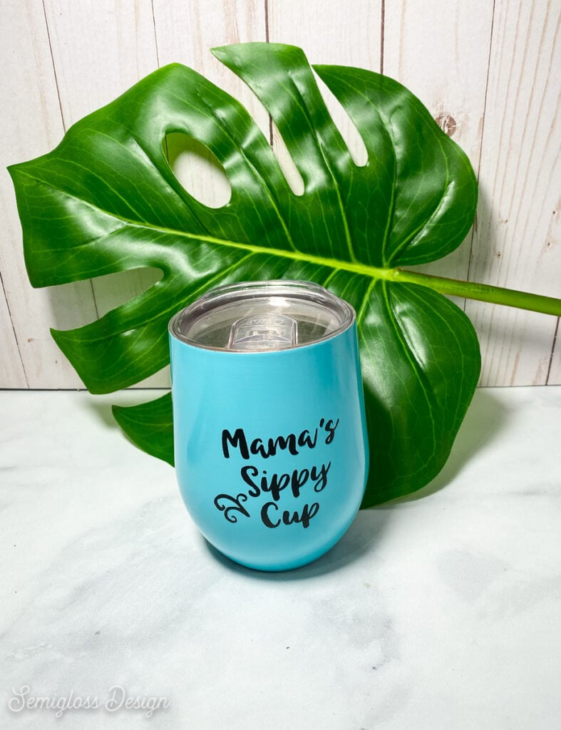 teal wine tumbler in front of tropical leaf