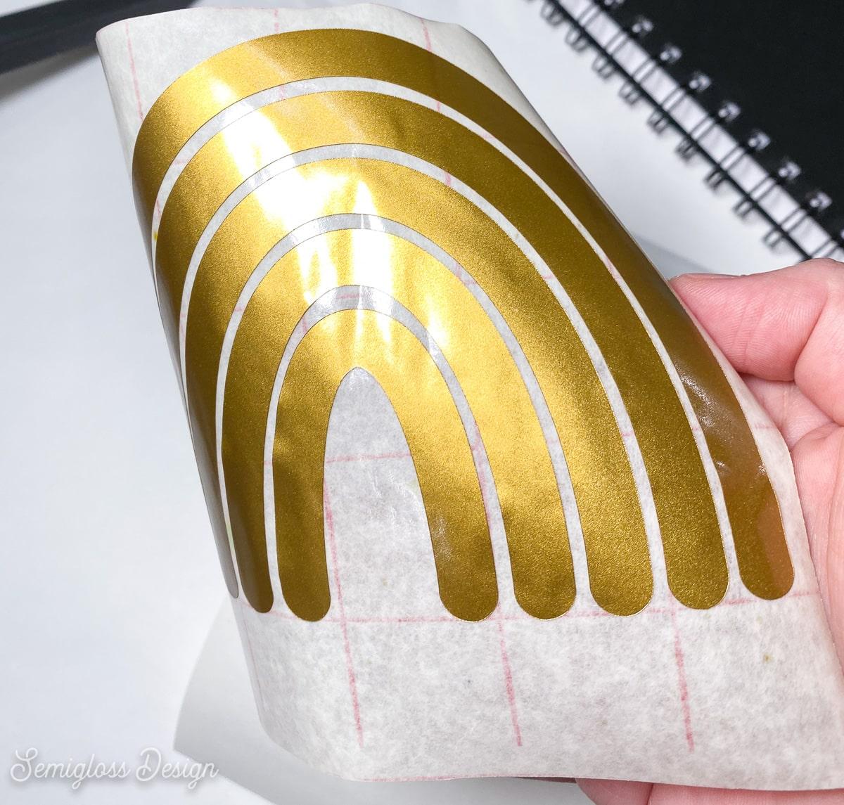 vinyl design adhered to transfer tape