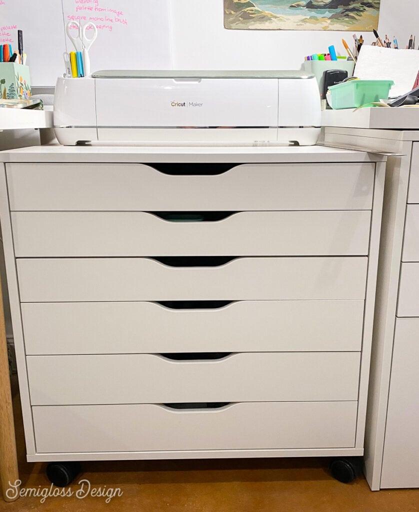 cricut maker on ikea alex drawer cabinet