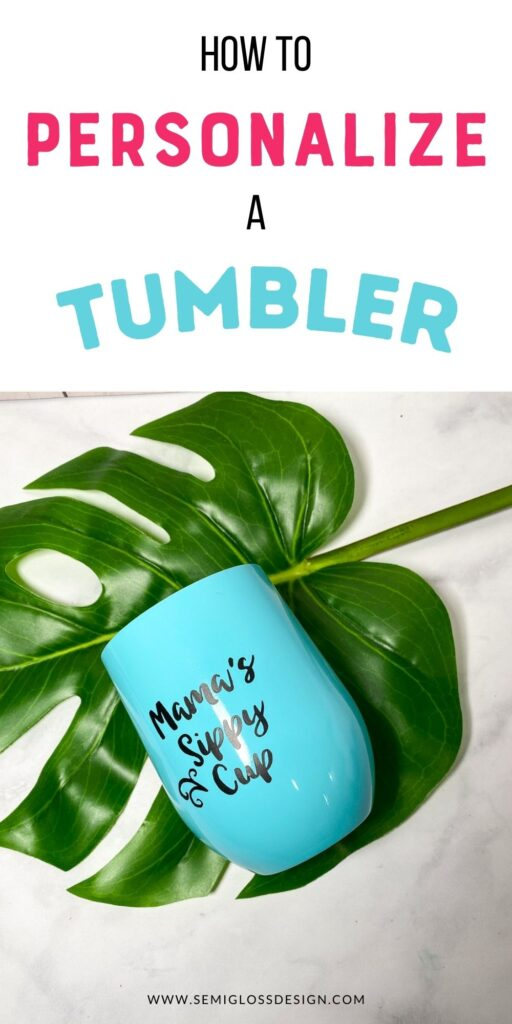 teal wine tumbler on tropical leaf