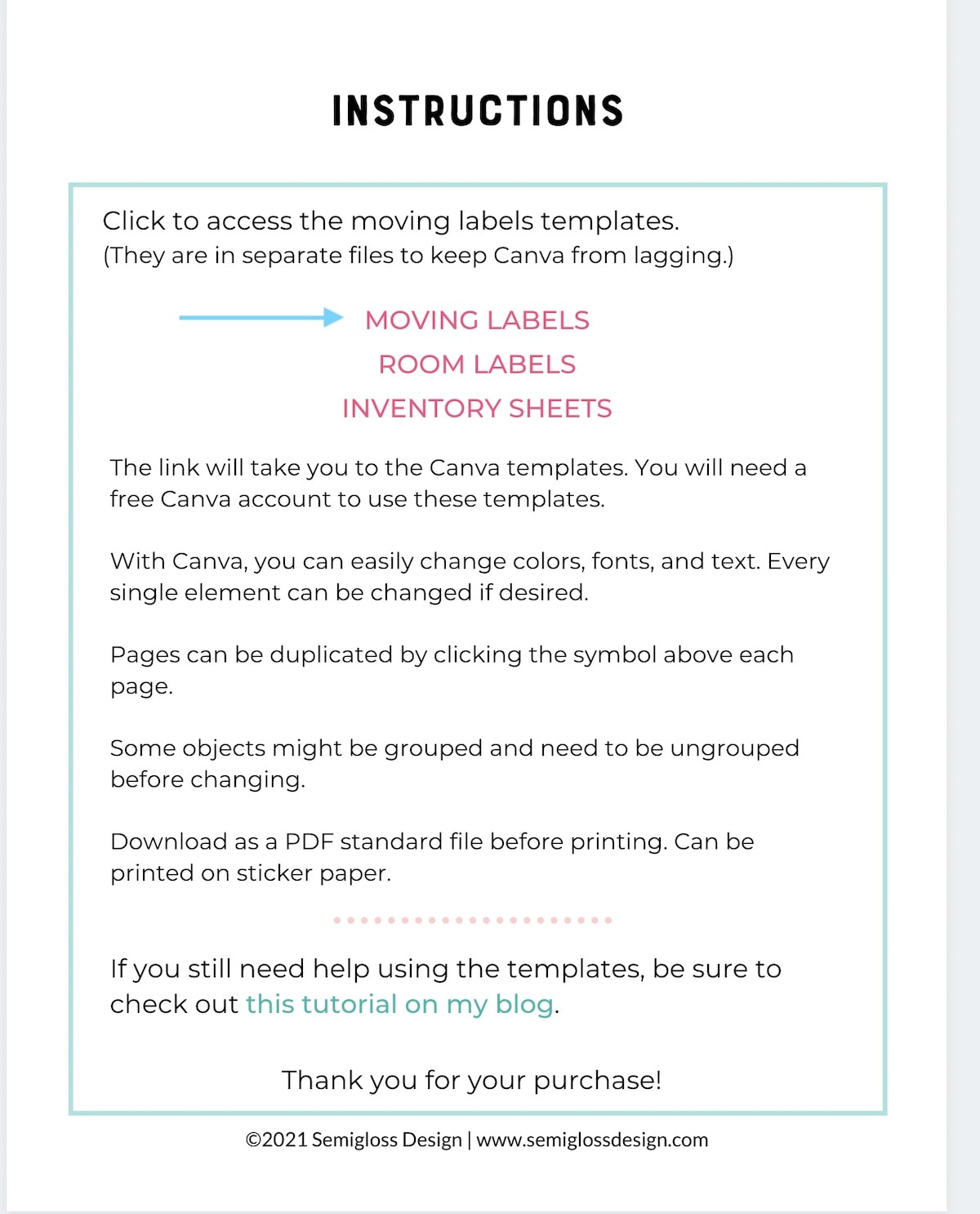 screenshot of pdf with links to canva template