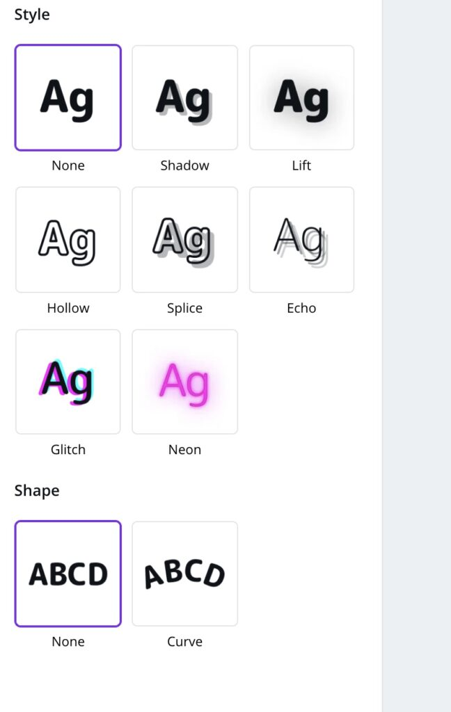 text styles for canva