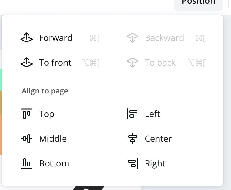 alignment option in canva