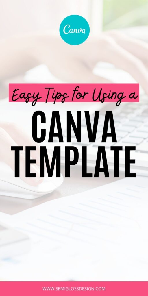 """hand using computer mouse behind text: """"easy tips for using a canva template"""""""