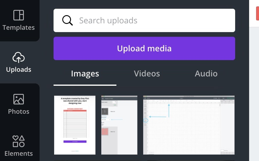 upload images in canva