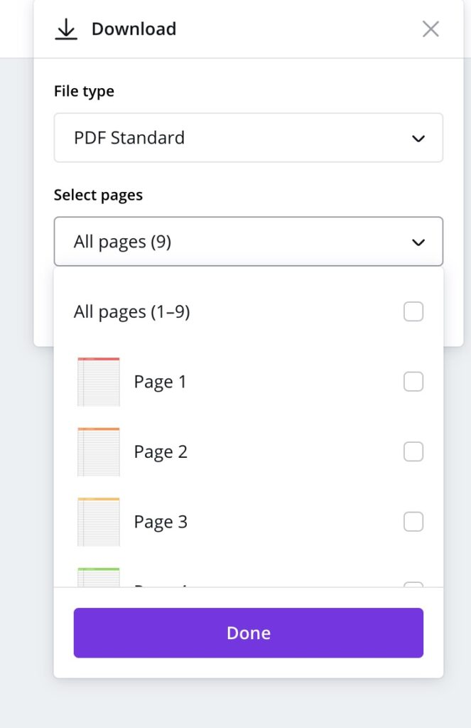 selecting pages to save