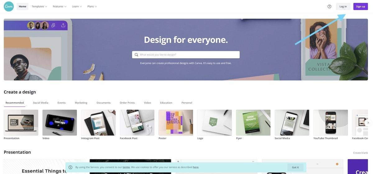 screenshot of canva