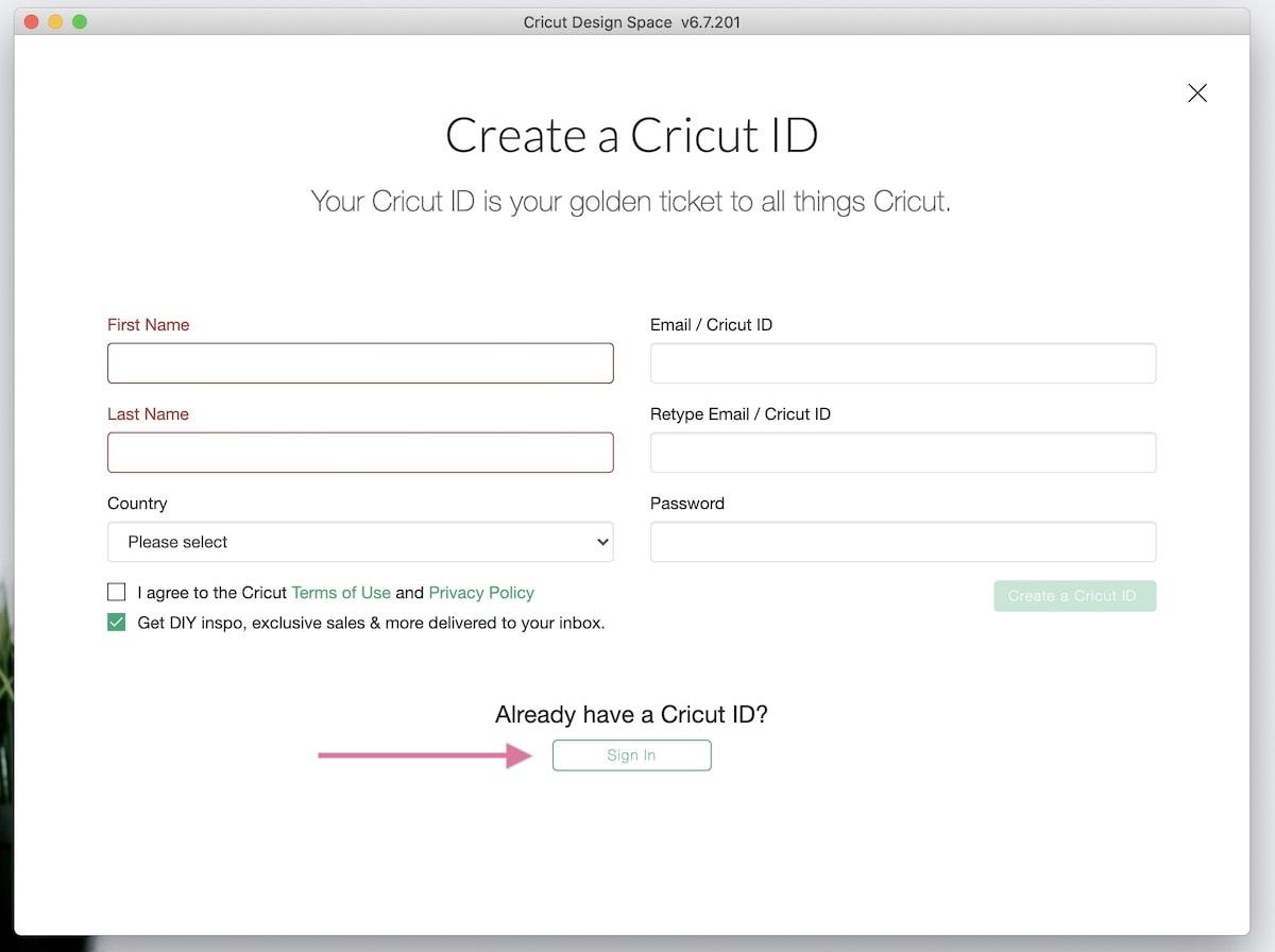 creating cricut id