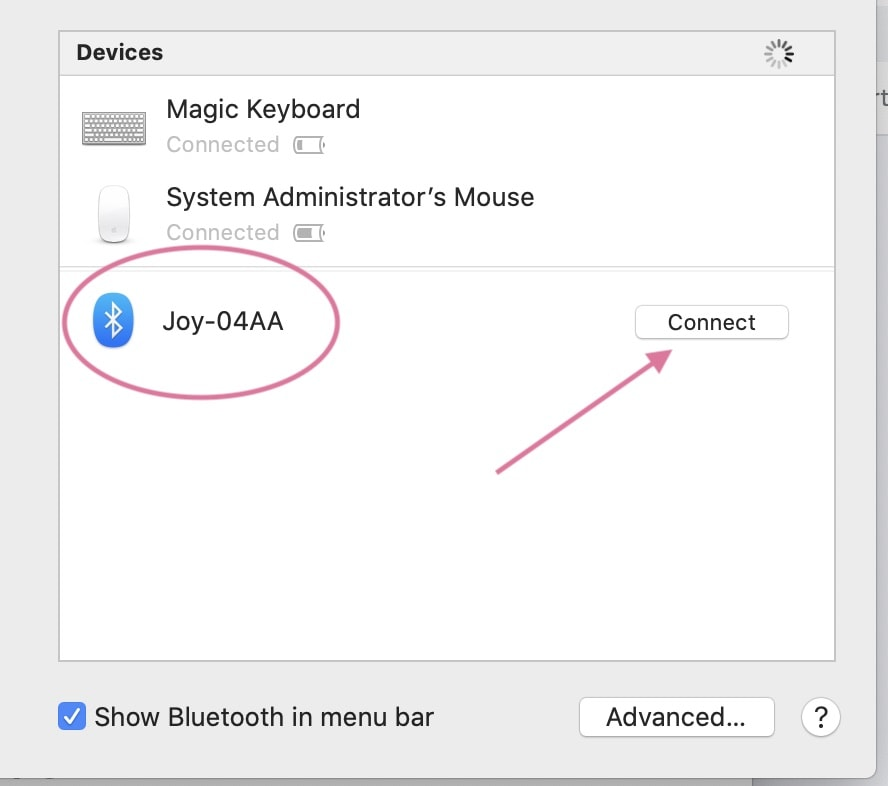 connecting joy to bluetooth