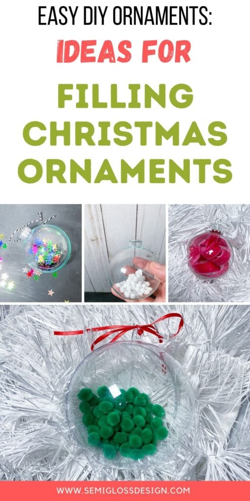 collage of clear ornaments filled with things