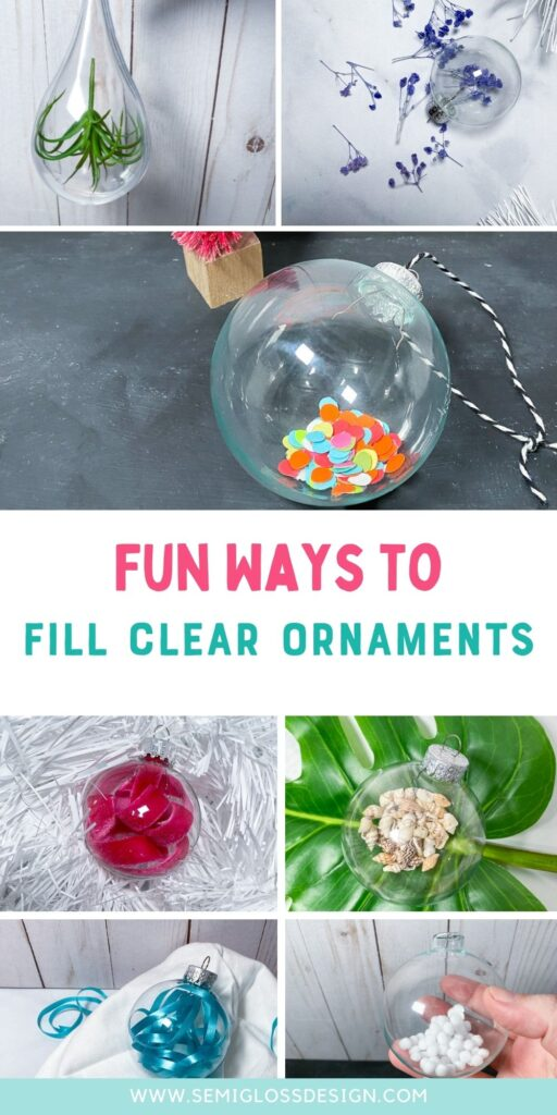 collage of clear ornaments filled with items