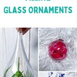 collage of glass ornaments filled with items
