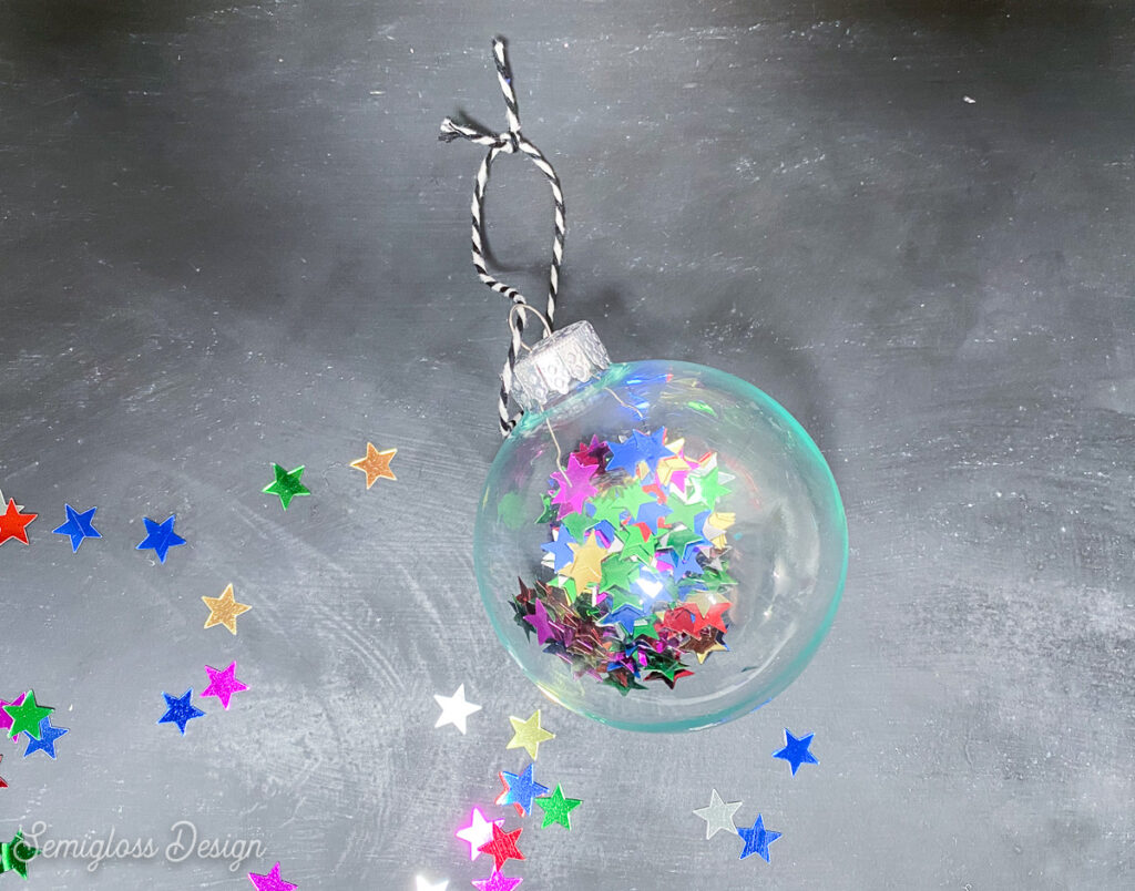 ornament filled with star confetti