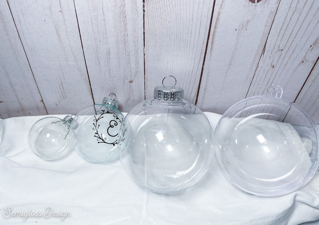 sizes for glass ornaments