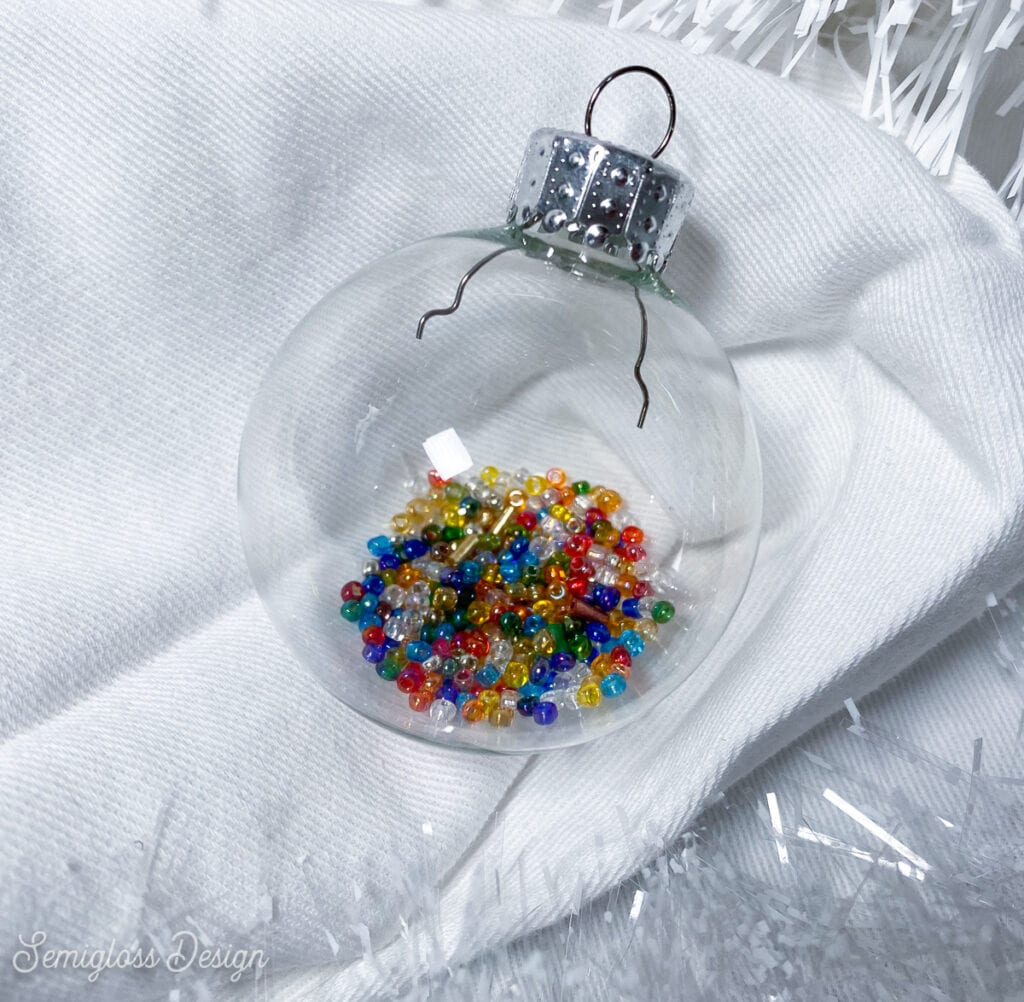 ornament filled with colorful seed beads