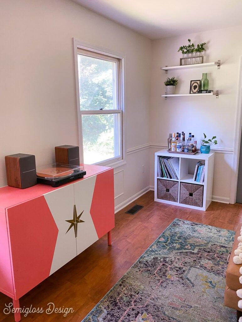 retro cabinet in living room