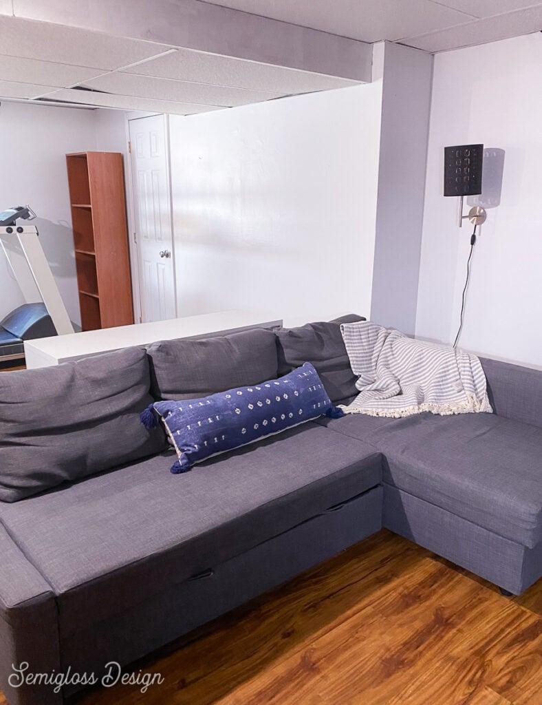 sofa in basement