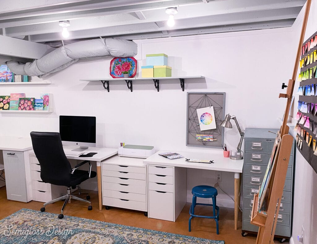 craft room in basement staged for sale