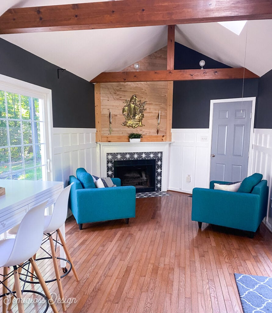 family room with fireplace and chairs