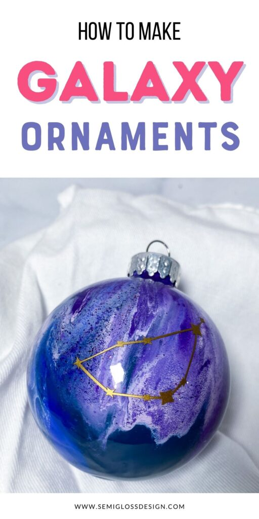 purple galaxy ornament with gold constellation decal