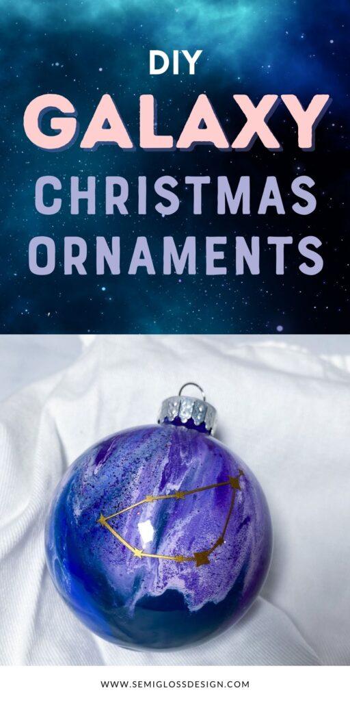 purple paint swirl galaxy ornament