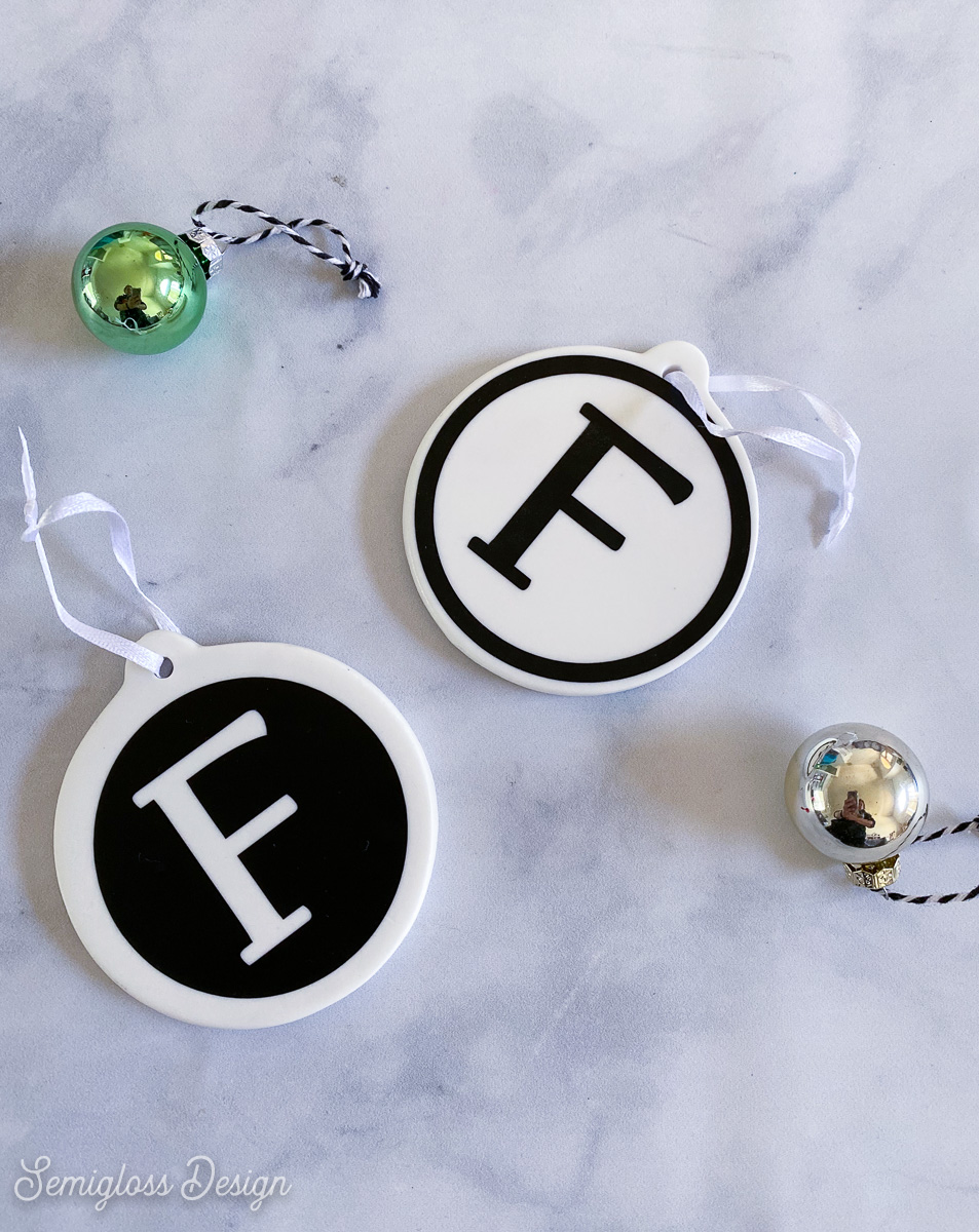 ornaments with F monogram