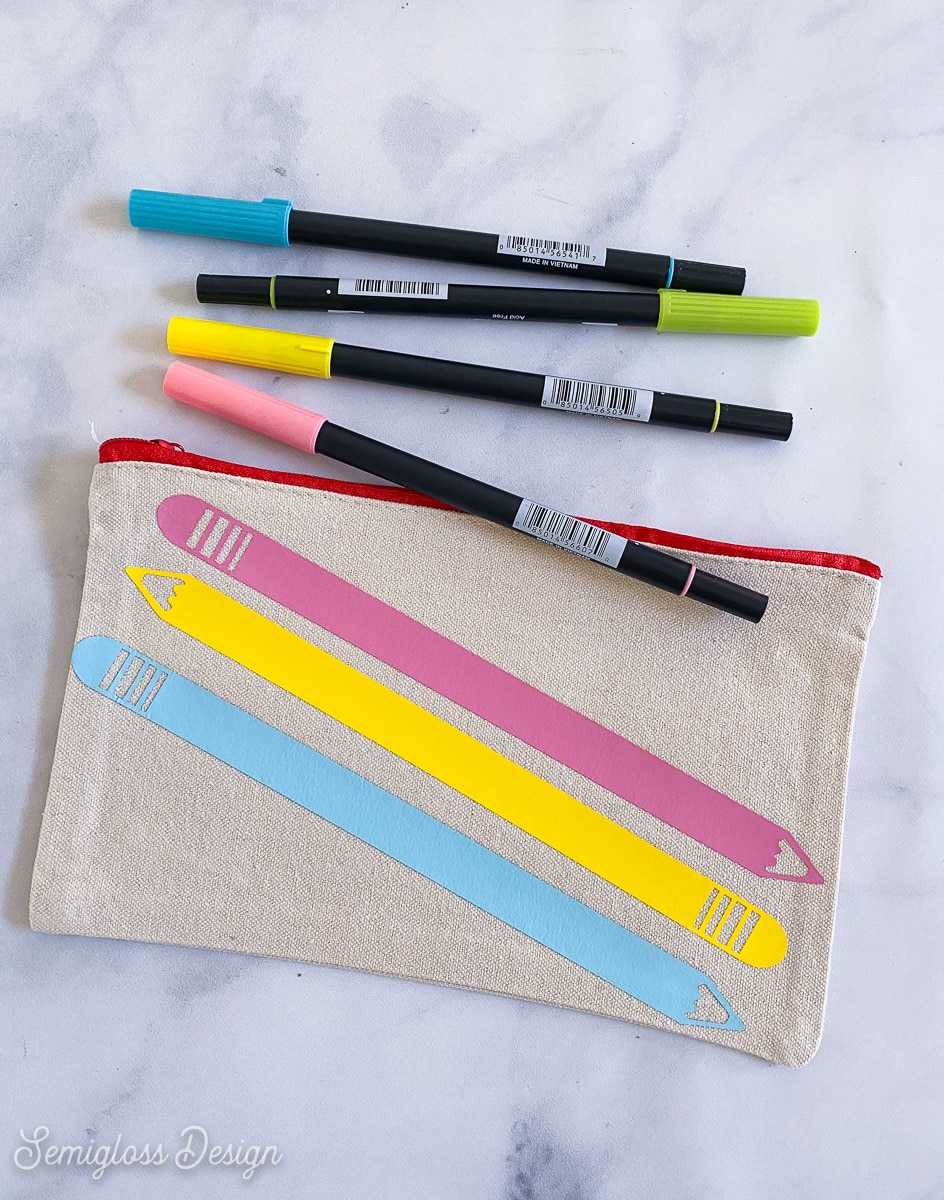 pencil pouch and markers