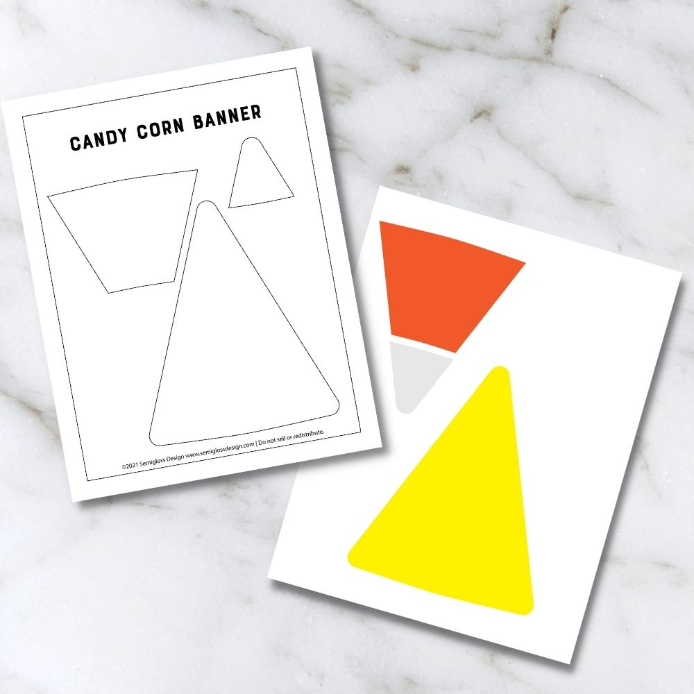 mock up of felt candy corn banner SVG and template