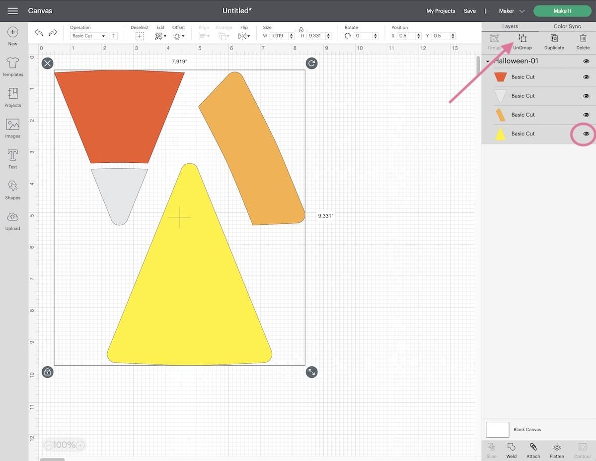 screenshot of cricut design studio