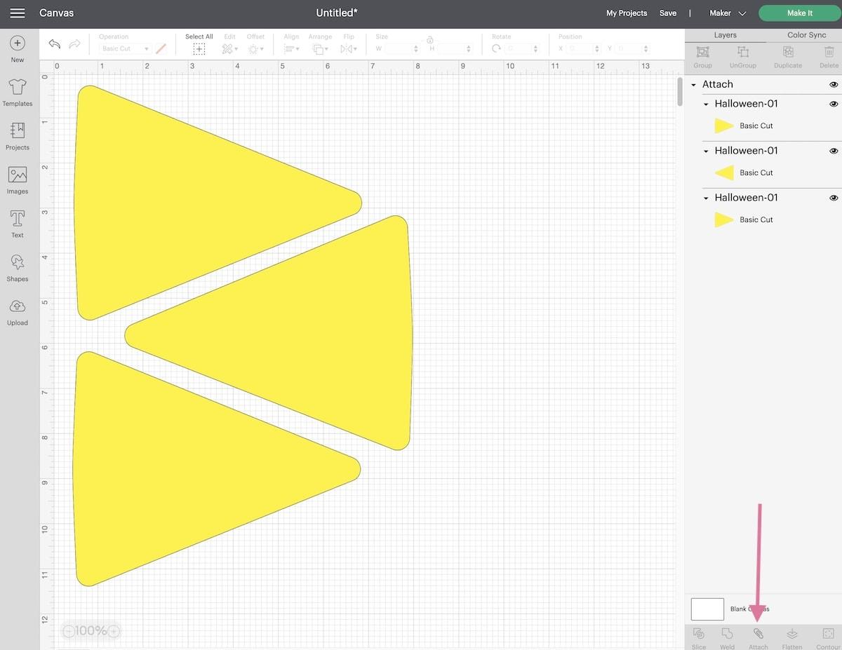 3 yellow triangles in Design studio