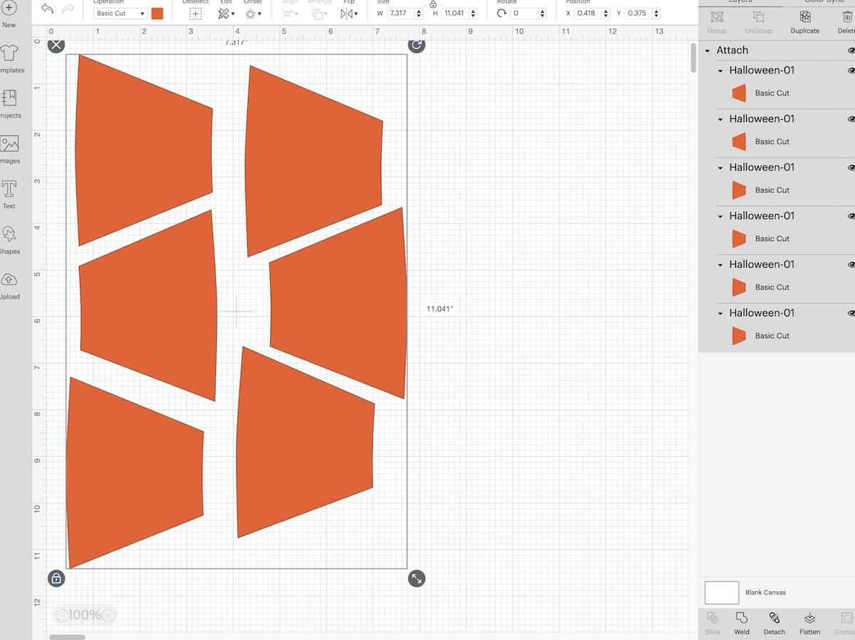 orange pieces laid out in cricut design space