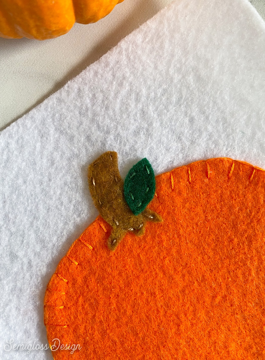 leaf sewn to pumpkin stem
