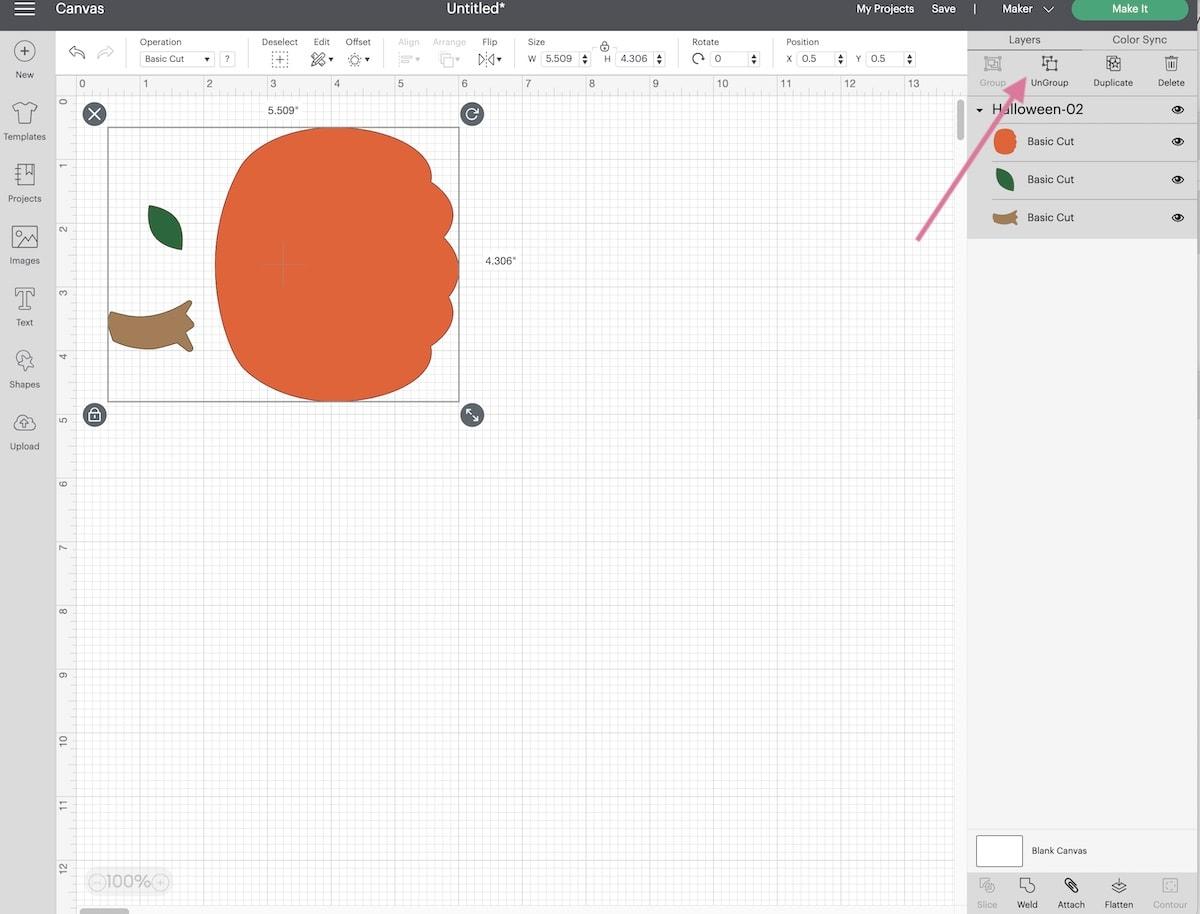 screenshot of cricut design space pumpkin design