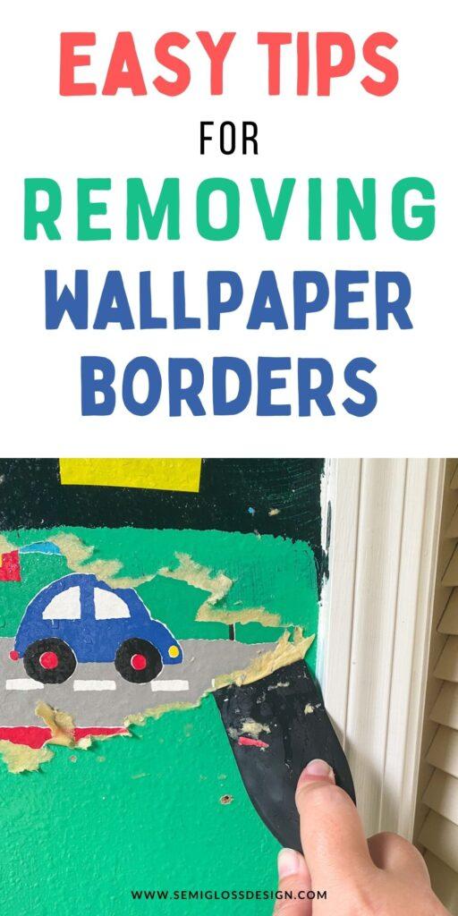 removing car wallpaper border from green wall